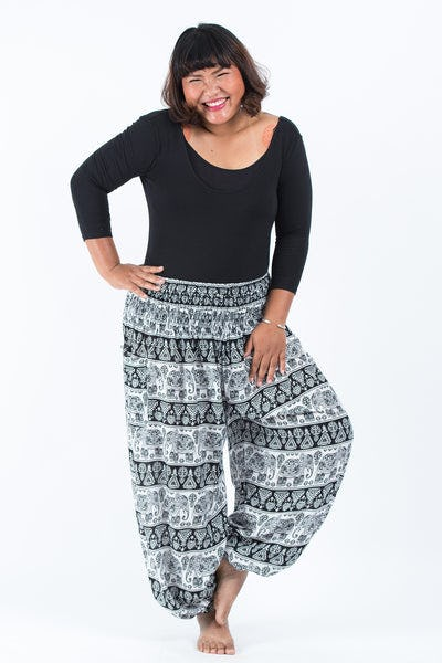 Plus Size Aztec Elephant Women's Elephant Pants in Black White