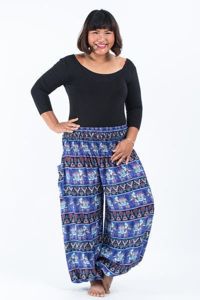 Plus Size Aztec Elephant Women's Elephant Pants in Blue