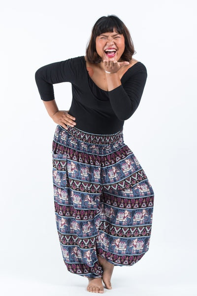 Plus Size Aztec Elephants Women's Harem Pants in Gray