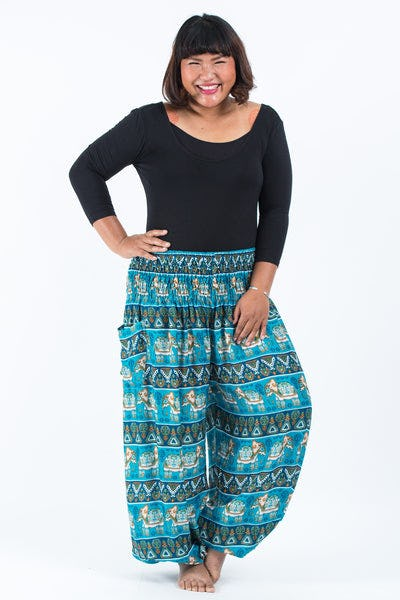 Plus Size Aztec Elephant Women's Elephant Pants in Ocean Blue
