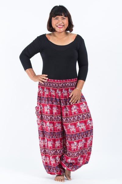 Plus Size Aztec Elephant Women's Elephant Pants in Red