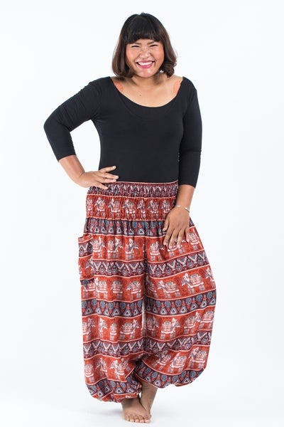Plus Size Aztec Elephants Women's Harem Pants in Rust