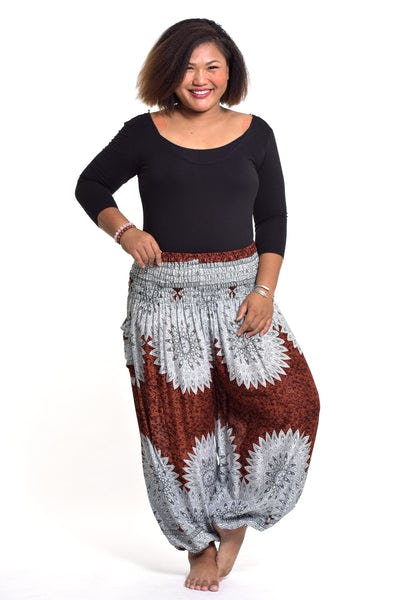 Plus Size Marble Mandalas Women's Harem Pants in Brown