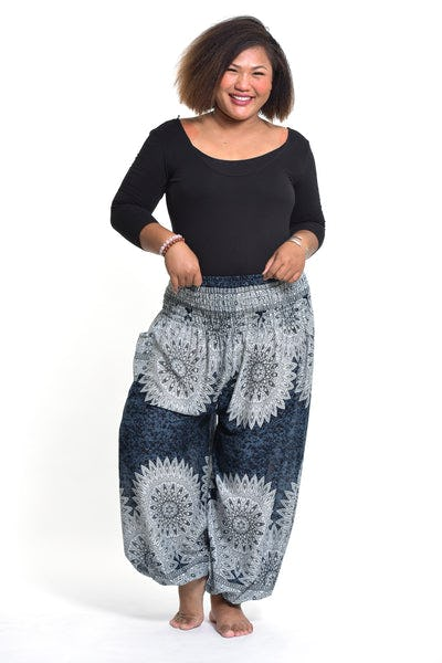 Plus Size Marble Mandalas Women's Harem Pants in Indigo