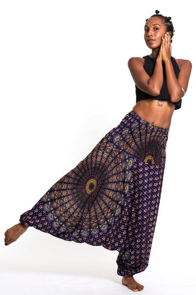 Peacock Mandalas Jumpsuit Harem Pants in Blue