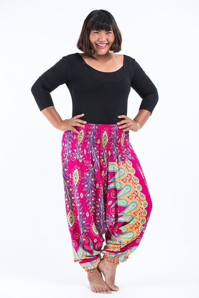 Plus Size Peacock Paisley Drop Crotch Women's Harem Pants in Pink