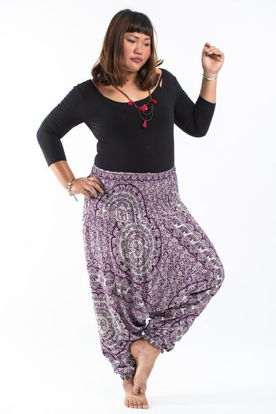 Plus Size Paisley Elephants Drop Crotch Women's Harem Pants in Purple