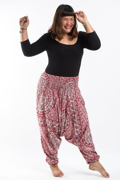 Plus Size  Paisley Elephants Drop Crotch Women's Harem Pants in Red