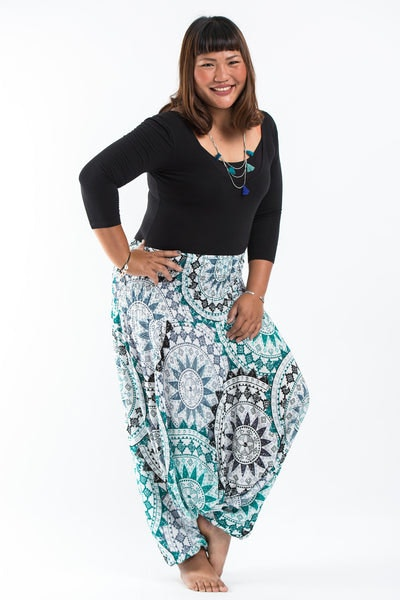 Plus Size Star Mandalas Drop Crotch Women's Harem Pants in Green