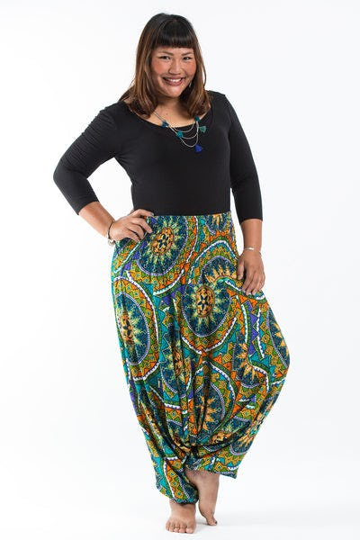 Plus Size Star Mandalas Drop Crotch Women's Harem Pants in Turquoise