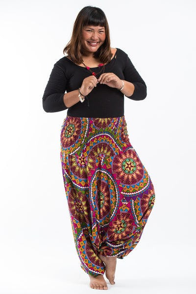 Plus Size Star Mandalas Drop Crotch Women's Harem Pants in Maroon
