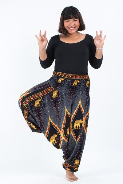 Plus Size Peacock Elephants Drop Crotch Women's Harem Pants in Black