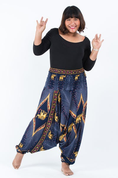 Plus Size Peacock Elephants Drop Crotch Women's Harem Pants in Blue