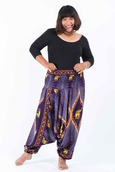 Plus Size Peacock Elephants Drop Crotch Women's Harem Pants in Purple