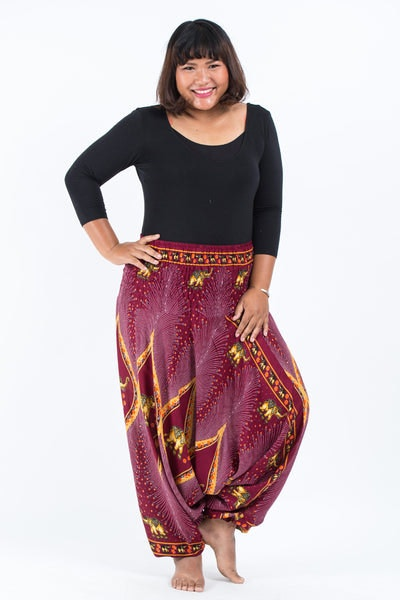 Plus Size Peacock Elephants Drop Crotch Women's Harem Pants in Red