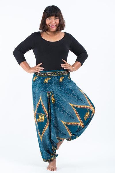 Plus Size Peacock Elephants Drop Crotch Women's Harem Pants in Turquoise