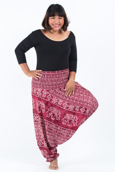 Plus Size Marble Elephants Drop Crotch Women's Harem Pants in Red
