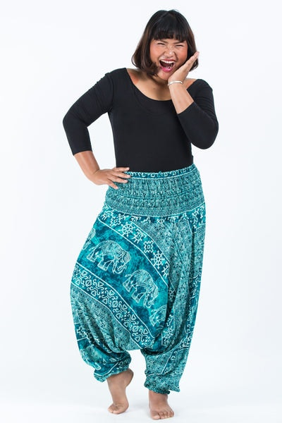 Plus Size Marble Elephants Drop Crotch Women's Harem Pants in Turquoise