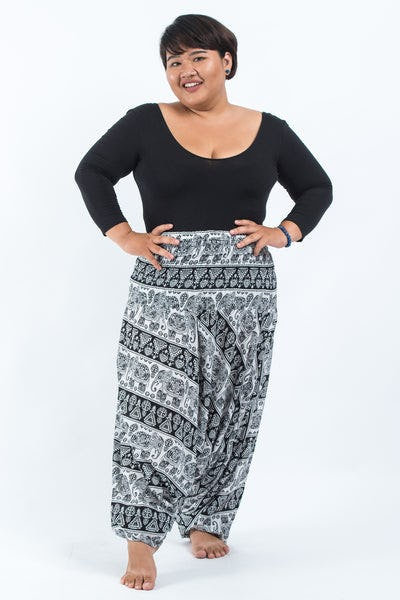 Plus Size Aztec Elephants Drop Crotch Women's Harem Pants in Black White