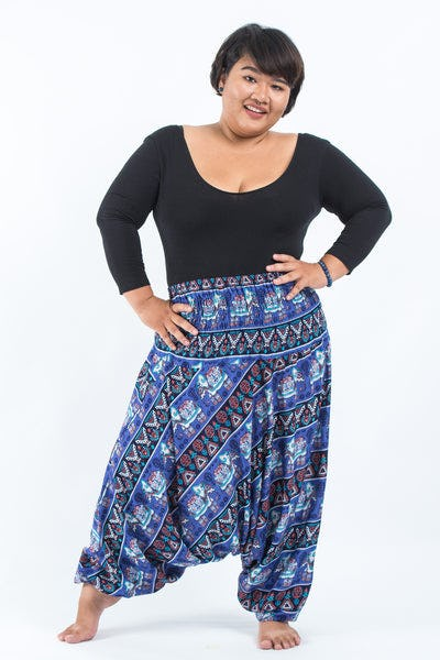 Plus Size Aztec Elephants Drop Crotch Women's Harem Pants in Blue