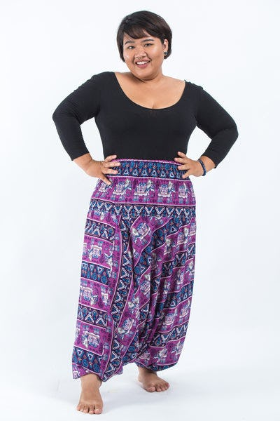 Plus Size Aztec Elephants Drop Crotch Women's Harem Pants in Purple