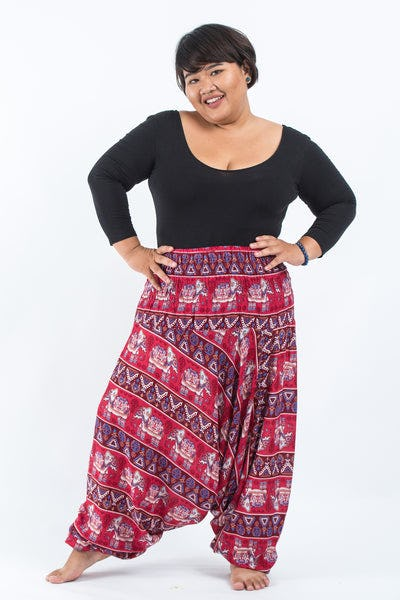 Plus Size Aztec Elephants Drop Crotch Women's Harem Pants in Red