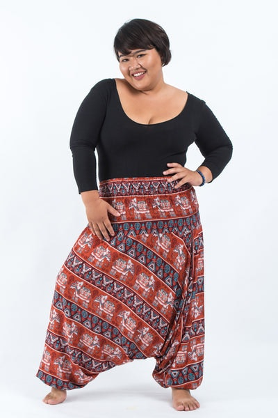 Plus Size Aztec Elephants Drop Crotch Women's Harem Pants in Rust