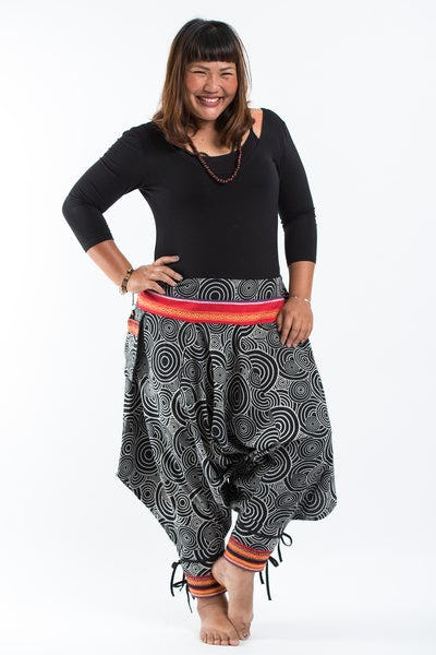 Plus Size Swirls Prints Thai Hill Tribe Fabric Women Harem Pants with Ankle Straps in Black