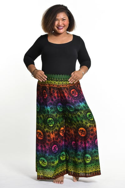 Plus Size Rainbow Elephant Palazzo Style Elephant Pants in Green
