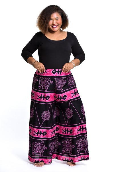 Plus Size Turtle Print Palazzo Style Harem Pants in Pink