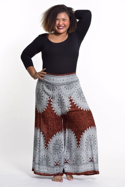 Plus Size Marble Mandalas Palazzo Style Harem Pants in Brown
