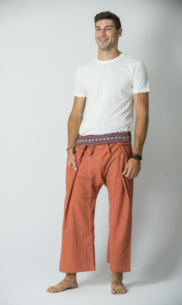 Unisex Thai Fisherman Pants in Peach