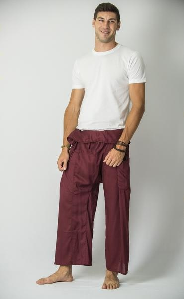 Unisex Thai Fisherman Pants in Maroon