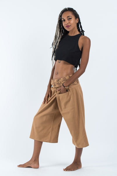 Women's Cropped Fisherman Pants with Pattern Waist Band in Beige