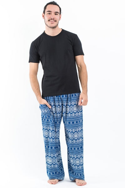 Ethnic Stripes Men's Harem Pants in Blue