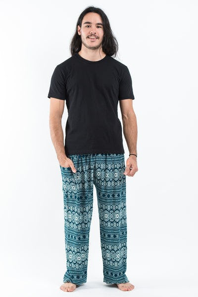 Ethnic Stripes Men's Harem Pants in Turquoise