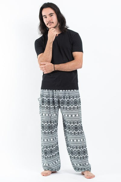 Ethnic Stripes Men's Harem Pants in White