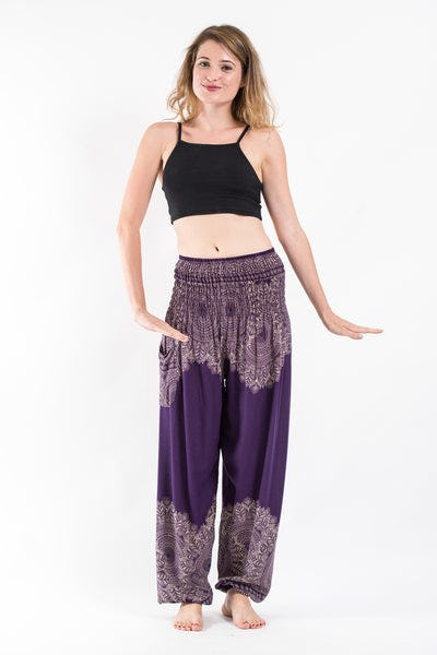 Floral Mandalas Women's Harem Pants in Purple