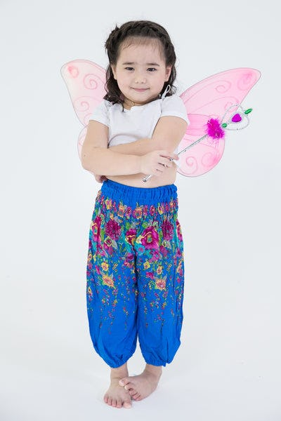 Floral Kids Harem Pants in Ocean Blue