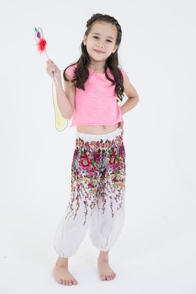 Floral Kids Harem Pants in White