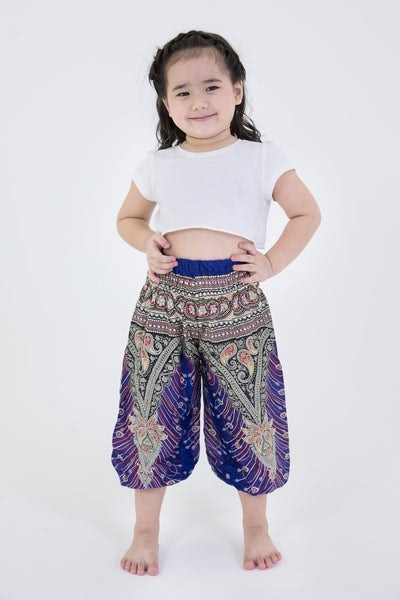 Peacock Feathers Kids Harem Pants in Blue
