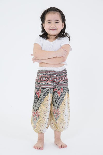 Peacock Feathers Kids Harem Pants in White