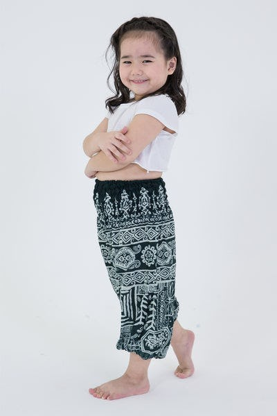 Tribal Prints Kids Harem Pants in Green