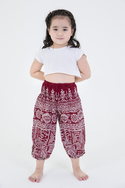 Tribal Prints Kids Harem Pants in Red