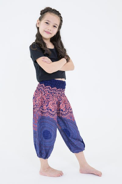 Geometric Mandalas Kids Harem Pants in Blue