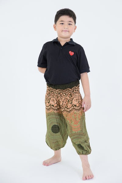 Geometric Mandalas Kids Harem Pants in Olive