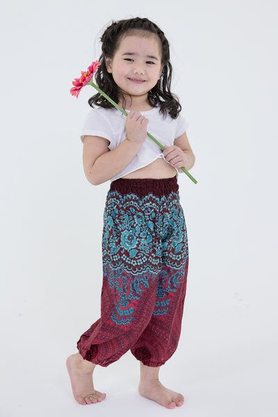 Geometric Mandalas Kids Harem Pants in Red