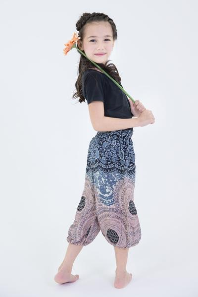 Geometric Mandalas Kids Harem Pants in Silver Gray