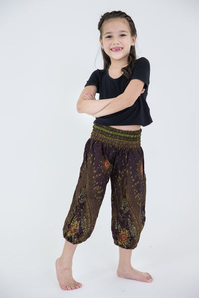 Peacock Eye Kids Harem Pants in Brown