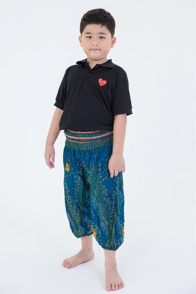 Peacock Eye Kids Harem Pants in Turquoise